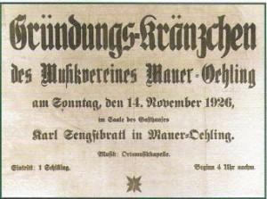 Gründung MV Mauer-Öhling